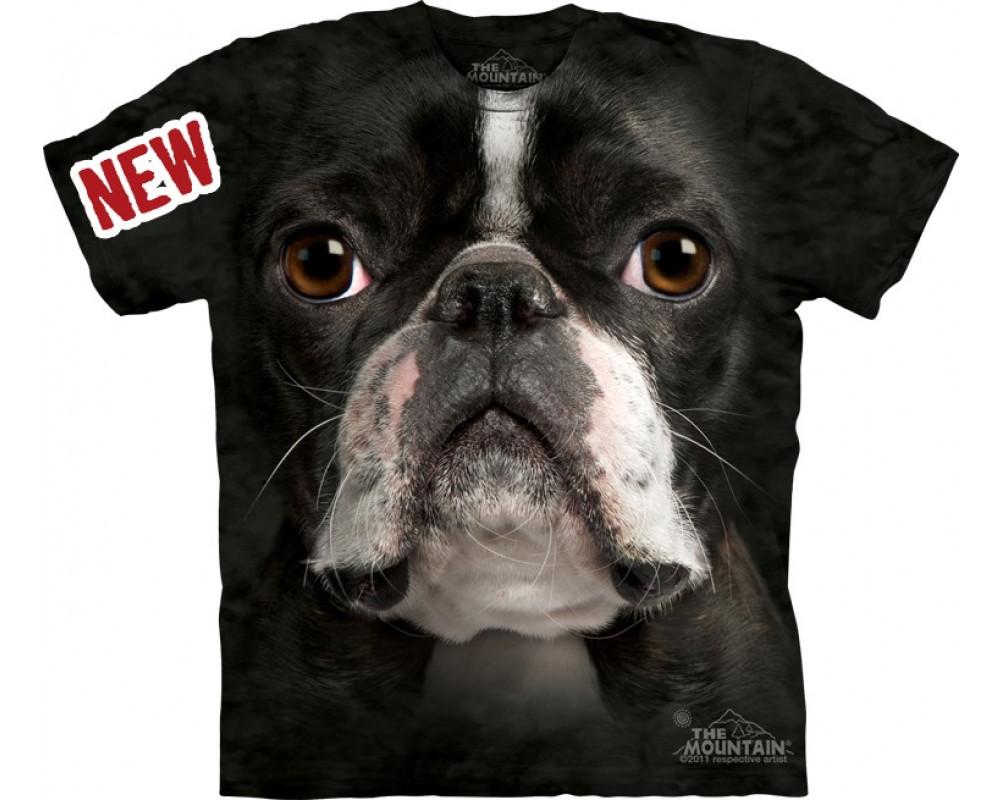 Boston terrier face t shirt the mountain for Boston rescue 2 t shirt