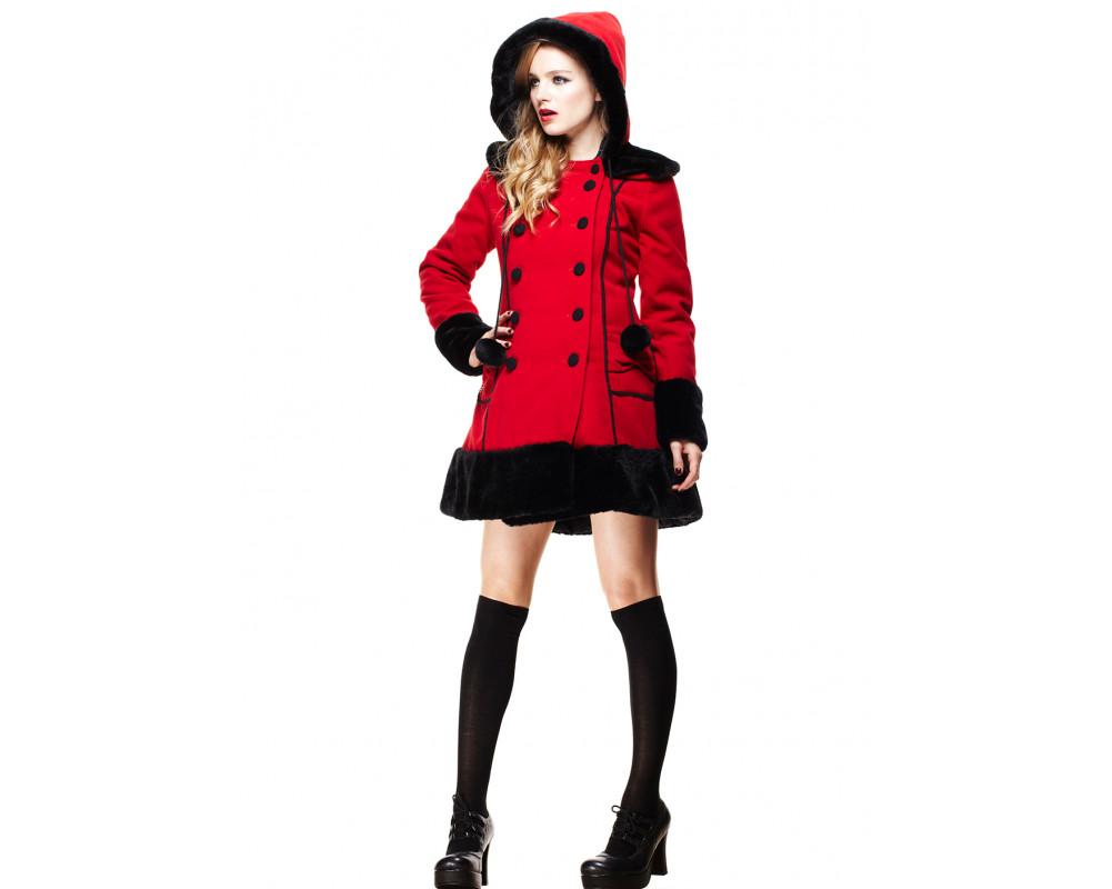 manteau femme sarah jane rouge hell bunny. Black Bedroom Furniture Sets. Home Design Ideas