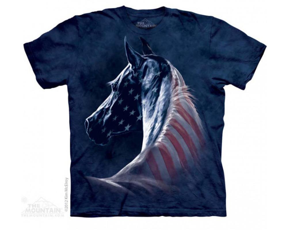 T-shirt Chevaul Drapeu USA