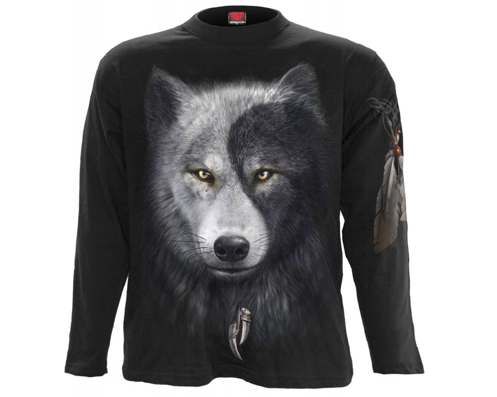 wolf chi t shirt homme loup noir gris blanc. Black Bedroom Furniture Sets. Home Design Ideas
