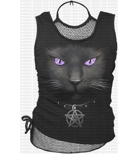 Black cat mesh débardeur femme