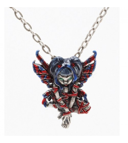 Red ribbon fairy Pendentif et chaine