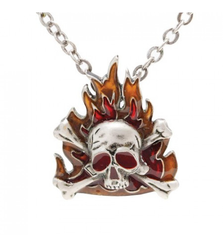 Pirate flammes Pendentif et chaine