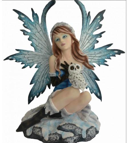 Statuette fée elfe avec chouette - grand format (30x32cm*)