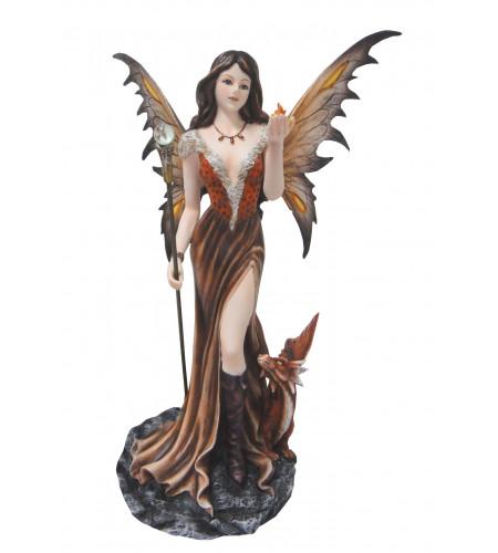 Figurine fée et dragon maron - Statuette (37x24cm*)