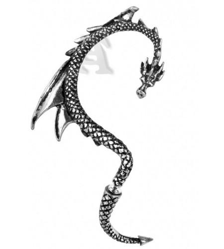 bijou boucle oreille en étain motif de dragon gris
