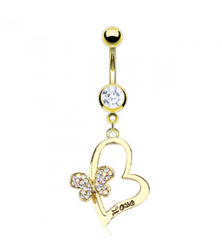 Piercing nombril - Bijou - Heart & love - Plaqué or