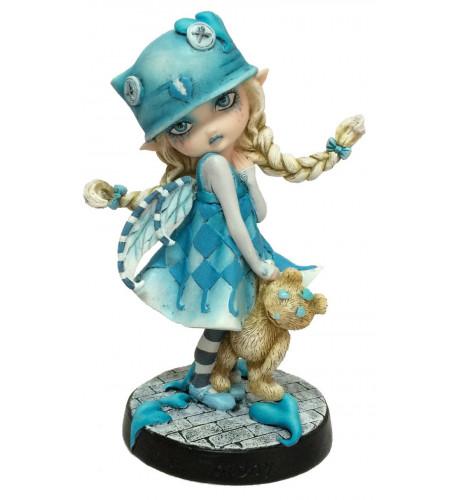 boutique figurine fée lutine bleue ours en peluche