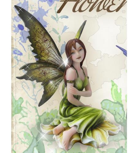 Fée verte figurine féerique elfe (13x12cm)