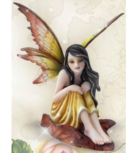 Fée elfe robe jaune - Figurine féerique (14x10cm)