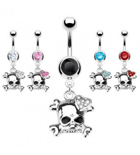 boutique gothique vente piercings nombril tete de mort crane
