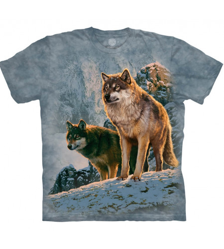 magasin tee shirt adulte manches courtes motif loup marque the mountain en france