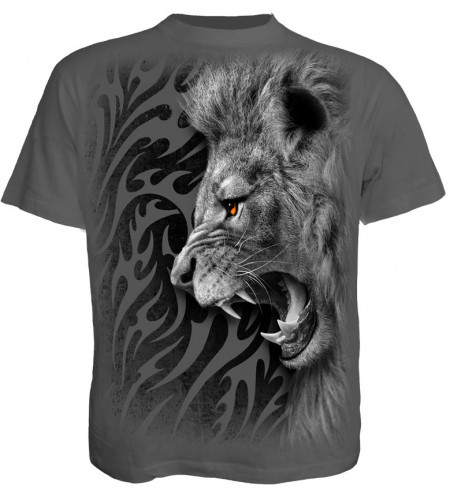 boutique tee shirt motif lion tribal gris
