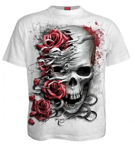 Skulls n roses - T-shirt blanc gothique - Spiral