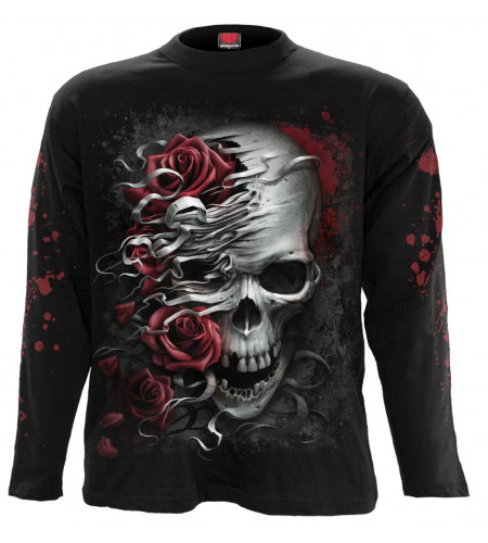 Boutiquer vente tee shirt imprimé rock dark gothic marque spiral skuuls n roses manches longues