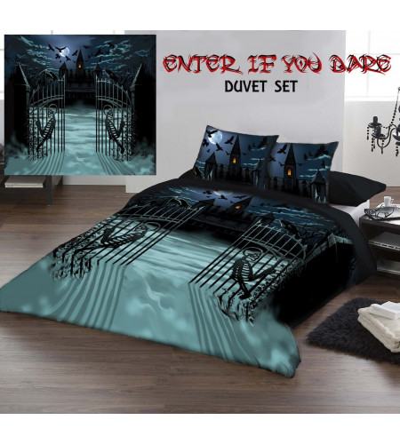 Enter if you dare - Housse couette gothique - 230x220 + 2 taies - Lit 2 personnes
