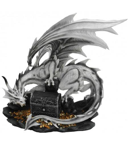 Boutique vente déco dragons fantasy statuette dragon blanc et gris