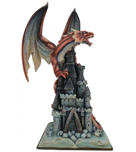boutique vente statuette dragon rouge grand format déco heroic fantasy