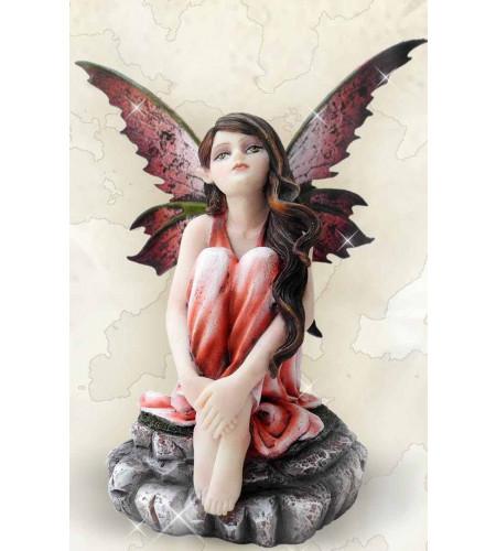 Fée elfe rêveuse et songeuse - Figurine féerique (14x11cm)