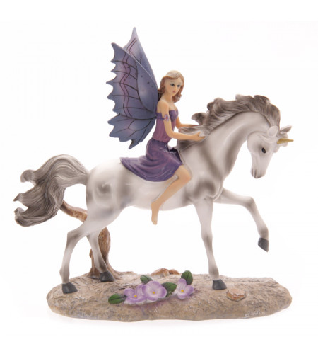 figurine elfe chevauchaznt une licorne - Figurines elfes Lisa Parker - Tales of Avalon