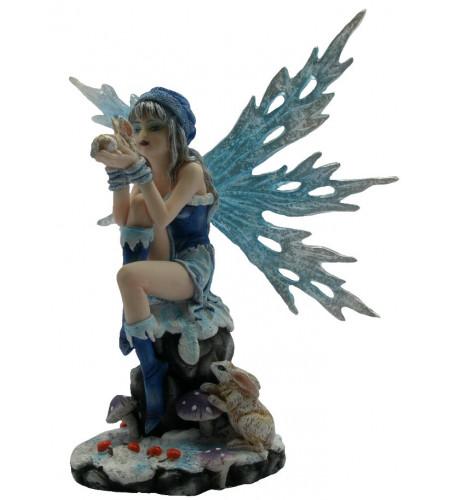 Figurine fée bleue et lapin (14x11 cm)