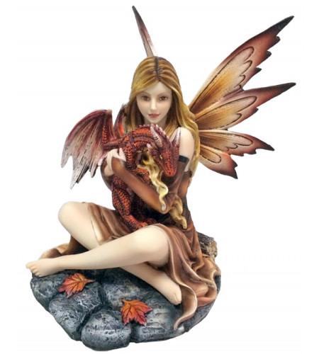 Figurine fée et bébé dragon - Statuette (25x22cm)