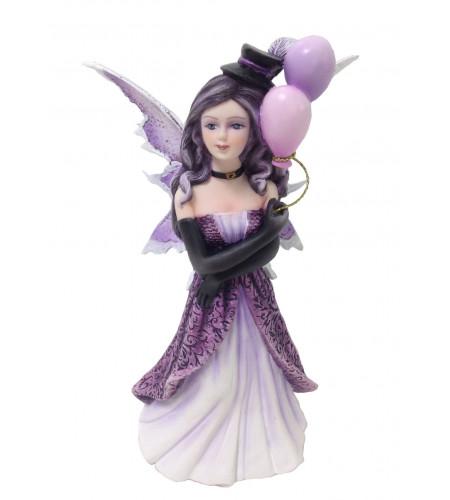Figurine fée elfe mauve aux ballons (16x11cm*)