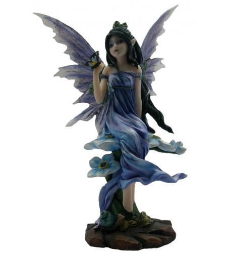 Figurine fée mauve et papillon (17x10 cm)