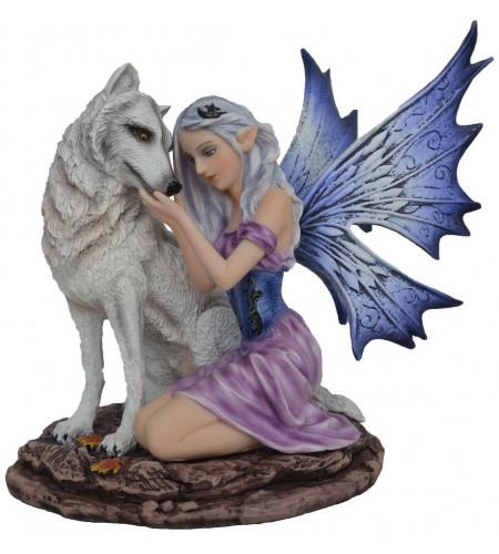 statuette déco fairy fée et loup