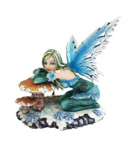 Fée bleue et verte sur champignon avec - Figurine (29x32cm*)