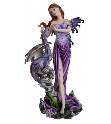 Fée et dragon mauve  - Figurine féerique fantasy - 22x18cm
