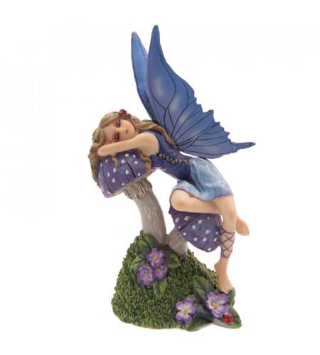 figurine fée bleue endormie sur champignon - Collections fées Lis Parker - Tales Avalon