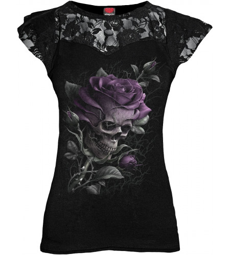 boutique gothic vente tee shirt femme skull rose spiral vetement
