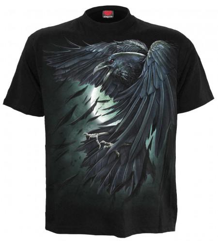 Boutique magasin vente te shirt motif corbeau noir manches courtes spiral