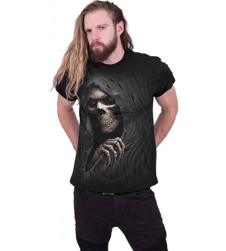 Boutique vente tee shirt gothic homme manches courtes boutique motif la faucheuse spiral