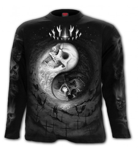 Yin yang skulls - T-shirt homme gothic - Manches longues - Spiral