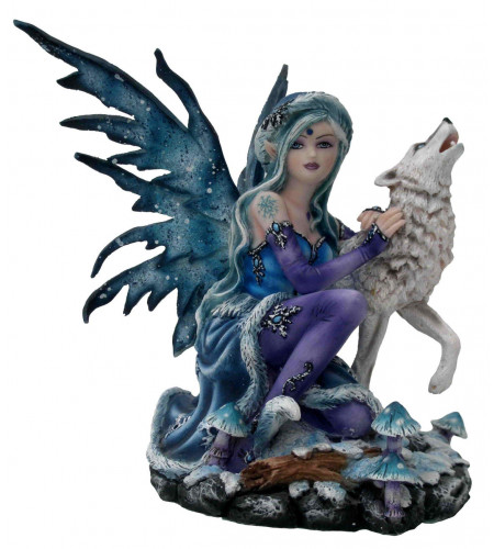 Figurine fée hiver et loup blanc (13x16cm)