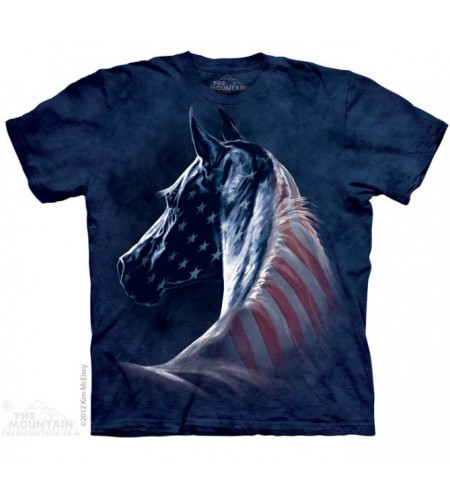 Patriotic horse - T-shirt cheval drapeu USA - The Mountain
