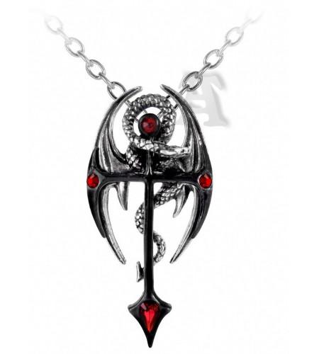 pendentif en étain dragon croix alchemy gothic