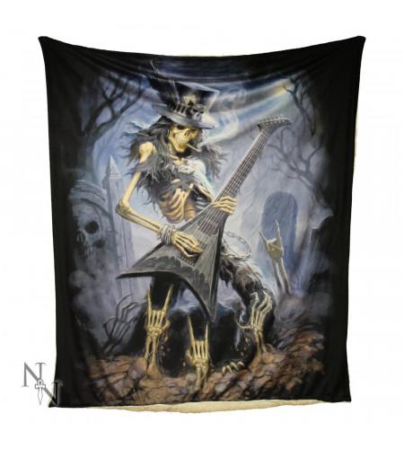 literie motif rock dark fantasy gothic couverture squelette guitare