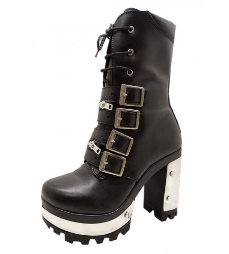 Bottines Lady rock cuir - Chaussures rock gothique
