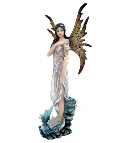 Figurine fée blanche et 2 dragons (30x13cm)