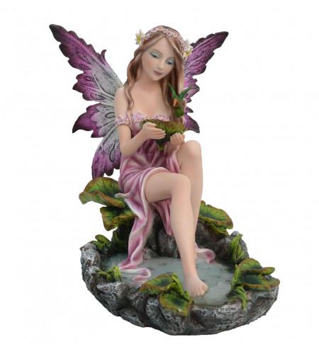 Figurine fée elfe et colibri - Statuette (23x20cm)
