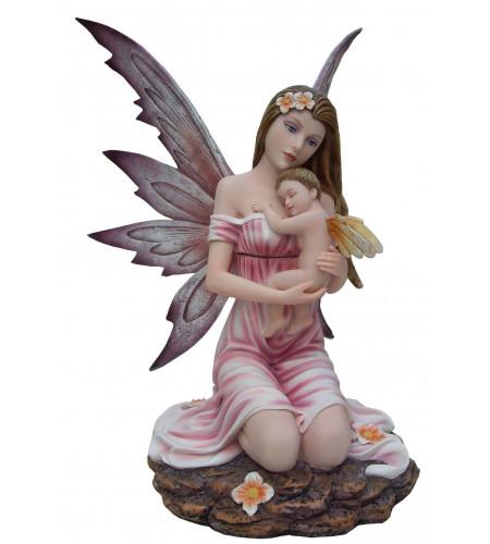 boutique féerique vente déco fées et elfes statuette fée rose et son enfant
