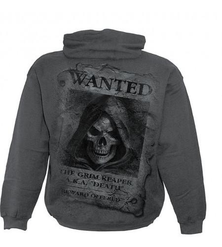 sweat shirt homme gris la mort squelette