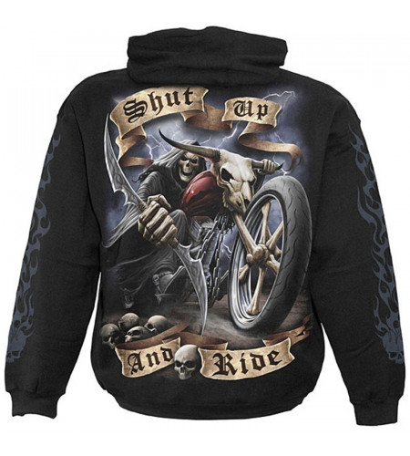 Shut up & ride - Sweat shirt squelette - Moto - Motard