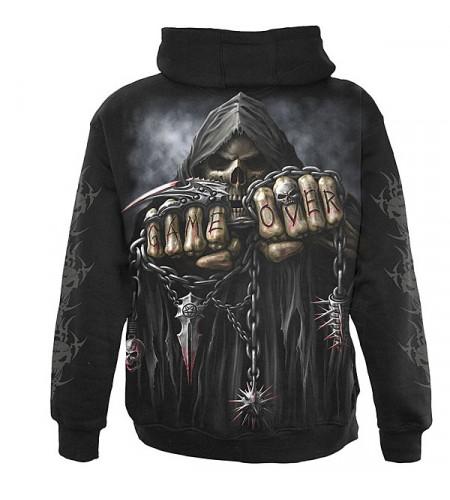 vêtement tête de mort squelette sweat shirt zip