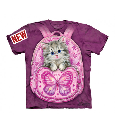 tee shirt fille chat rose