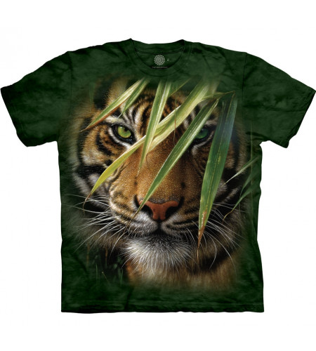 boutique vente tee shirt motif tete de tigre jungle the mountain emerald  forest manches courtes