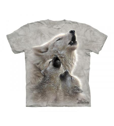t-shirt imprimé famille loup blancs tee shirt enfant